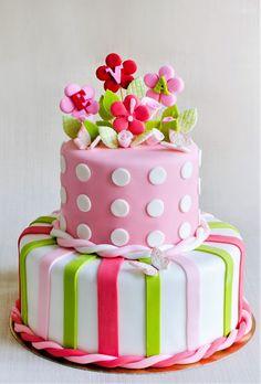 Eva, o fetita care a fost botezata de parintii ei, a avut parte de un tort aniversar decorat cu flori, dungi si fluturi colorati vesel. Tu cum ai dori sa decoram tortul pentru botezul bebelusului tau? Pret: 550 lei (5.5 kg) Birthday Cake, Candy, Desserts, Pie Cake, Fondant Cakes, Sweet, Tailgate Desserts, Birthday Cakes, Toffee