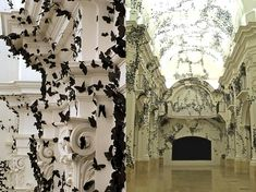 like the idea of clusters of paper cutouts all over the walls and ceilings.