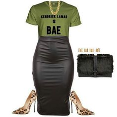 I like me some kendric, and this outfit if cute....win-win Fashion Clothes, Fashion Outfits, Womens Fashion, Stylish Outfits, Woman, Simple, Board, Polyvore, Accessories