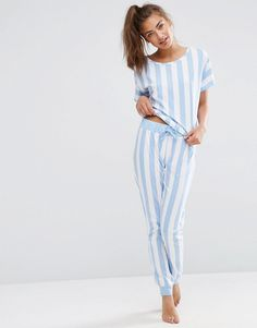 Image 1 of ASOS Deckchair Stripe Tee & Jogger Pajama Set
