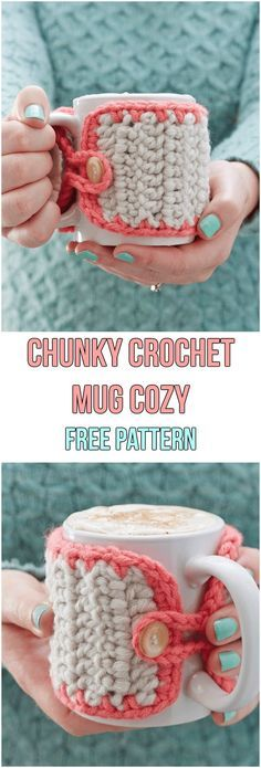Chunky Crochet Mug Cozy Free Pattern #freepattern #crochet #crochetpattern #cozy #coffee #diy #handmade #homemade #yarn #button #mug #chunky