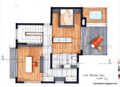Markers, Floor Plans, How To Plan, Architecture, Interior, Sketch, Texture, Color, Sketch Drawing
