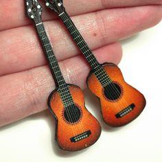 Guitar Earrings, Long dangle - decoupage earrings