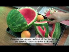 How to carve a watermelon baby carriage.  This is a great for a baby shower!  http://www.eatallaboutit.com/2009/08/04/how-to-carve-a-watermelon-baby-carriage/   We have reviewed the original video footage to see  how long this took to do: nothing was prepped in advance for this video, and the entire carving from beginning to end took 48 minutes,...