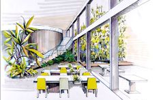 interior design colored sketches - Google Search