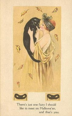 Vintage Halloween postcard. Leaves, Black Cat, Mask - what's not to love?