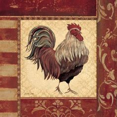 Red Rooster art print by Jo Moulton