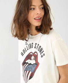 Camiseta Rolling Stones marfil