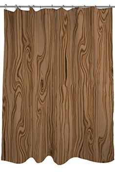 Thumbprintz Shower Curtain Wood Grain Large Scale Light Brown Smile