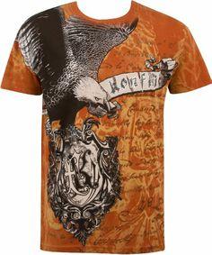 Metallic Silver Accent Eagle Short Sleeve Crew Neck Cotton Mens Fashion T-Shirt  Men Looks e8b81f962
