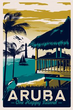 "this is 100% original artwork Aruba Retro Vintage Travel Poster beach Palm Trees Screen Print hand screen printed 3 color design.  • ARTWORK SIZE IS 12""X18"" • PRINTED ON VANILLA HEAVY COLD PRESSED ARTBOARD (VERY THICK) • LIMITED RUN OF 50 PRINTS SIGNED AND NUMBERED!   NEED IT FRAMED? Check out my real beach wood frames here! perfect for any screen print! https://www.etsy.com/listing/187879338/real-beach-wood-frame-16-x-22?ref=shop_home_active_6  *Watermark does not appear on actual print.*"