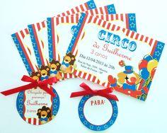 Festa do Circo Azul e Vermelho: Convites e tags para nome de convidados, além do tag para lembrancinha.