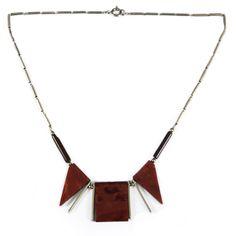 Jakob Bengel chrome and bakelite Art Deco necklace