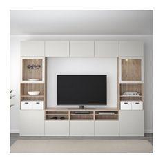 IKEA - BESTÅ TV storage combination/glass doors walnut effect light Living Room Built Ins, Ikea Living Room, Living Rooms, Ikea Tv Wall Unit, Built In Tv Wall Unit, Tv Built In, Ikea Wall, Tv Wanddekor, Living Room Tv Unit Designs