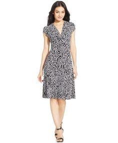 Anne Klein Dot-Print Twist-Front Dress-$79.99