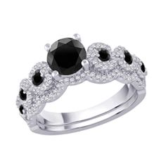 1-1/2 CT. T.W. Enhanced Black and White Diamond Scallop Bridal Set in 14K White Gold - View All Jewelry - Gordon's Jewelers