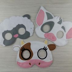 Ellie the #cow felt mask is my favourite but I do love this photo of these 3 #animal #masks together. Which one is your favourite? Cute #cow #mask, cute #sheep mask or the #pig? Sheep Mask, Cow Mask, Cute Sheep, Cute Cows, Barnyard Animals, Felt Animals, Pua Pig, Barnyard Party, Pig Party