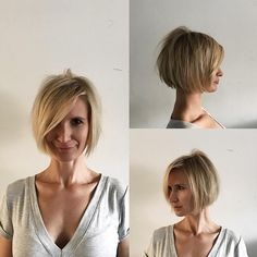 This Blonde Shaped Bob with Messy Texture and Long Side Swept Bangs is a great modern cut for someone seeking a chic versatile style. This short textured bob can be worn polished or messy, by adding textured waves and volume. It's a great style to easily help you flow from work to play. Styling tips for this bob cut and other similar short hairstyles, medium length haircuts, and hair color ideas can be found at Hairstyleology.com