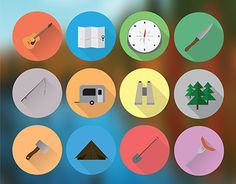 """Check out new work on my @Behance portfolio: """"Camping Icons"""" http://be.net/gallery/36398775/Camping-Icons"""