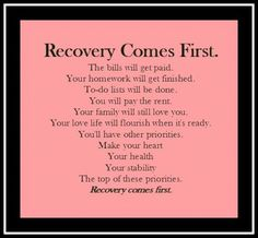 RECOVERY COMES FIRST... Off with his ED