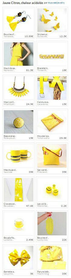 """Collection """"Jaune Citron, chaleur acidulée"""", par mysweetjewelry pour le concours de l'été! http://www.alittlemarket.com/collection/jaune_citron_chaleur_acidulee-309801.html"""
