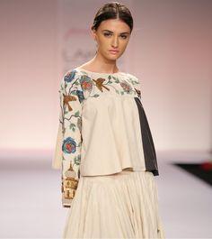 Grey & Olive Green Cotton Saree with Block Print Kurta Designs, Blouse Designs, Cotton Skirt, Cotton Fabric, Cotton Saree, Indian Fashion, Womens Fashion, Couture Details, Lakme Fashion Week