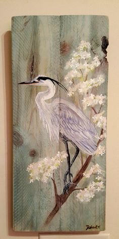 Original painting of a Great Blue Heron on reclaimed pine wood. Acrylic paint with a light poly coat. Measures 24 by 11 Crayons Pastel, Illustration Art, Illustrations, Coastal Wall Art, Blue Heron, Pallet Art, Art Plastique, Bird Art, Painting On Wood