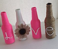 Love wrapped bottles, Pink love bottles, Wedding decor, Mothers Day Gift, Twine wrapped bottles