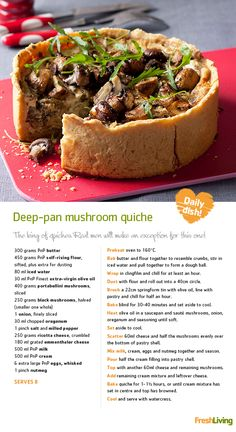 BOO! It's Halloween and we're dishing out cooking tricks and treats. Sink your teeth into this monstrous #mushroom #quiche for Meat-free Monday!   #recipe #dailydish #picknpay