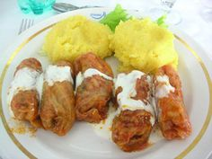 meatballs in cabbage leaves...and, of course, polenta