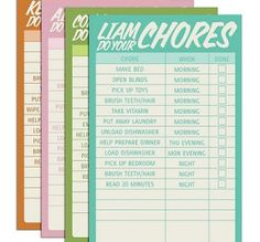Free Printable Kids Chore Charts - customizable