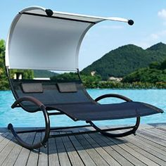 This fantastic Rocking Double Sun Lounger has an in built canopy sun shade and cushions. Feel like you are floating on this ultra modern lounger. Pool Chairs, Beach Chairs, Outdoor Chairs, Outdoor Furniture, Outdoor Decor, Hanging Swing Chair, Swing Seat, Double Sun Lounger, Sun Chair
