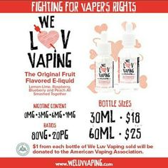 #repost from our friends over at @weluvvaping -  WeLuvVaping was started because they wanted to give back to the vapor industry.  $1 from every bottle goes to the American Vaping Association! #weluvvaping #vapingisnottobacco #vaping #vapefriends #vapepics #vapememe #subohm #vape #vapenation