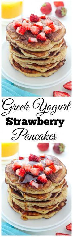 Healthy Greek Yogurt Strawberry Pancakes
