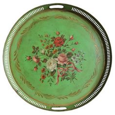 Check out this item at One Kings Lane! French Hand-Painted Tole Gallery Tray