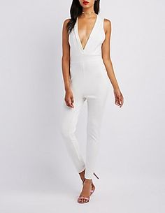 d380c5a9a35 Plunging Tie-Back Jumpsuit Night Out Outfit