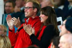 Prince William, Duke of Cambridge and Catherine; Duchess of Cambridge attend the England v Wales match during the Rugby World Cup 2015 on September 26, 2015 at Twickenham Stadium, London, United Kingdom
