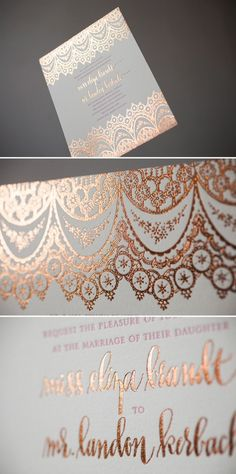 Copper Foil Wedding Invitations with Hot Pink letterpress. Wedding Themes, Wedding Blog, Diy Wedding, Dream Wedding, Wedding Decorations, Wedding Day, Trendy Wedding, Wedding Reception, Wedding Venues