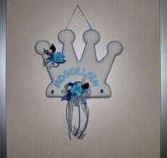 Hoşgeldin Yazılı Kral Taçlı Çiçekli Erkek Bebek Kapı Süsü Mavi