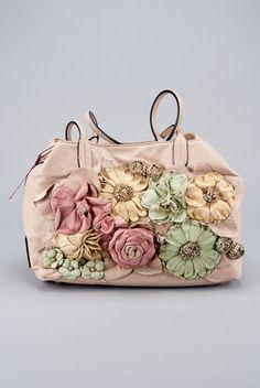New Valentino Tan Nappa Leather Flower Applique Bag