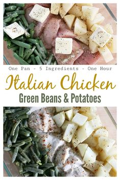 One dish dinner! Italian chicken, green beans, and potatoes. 5 ingredients, easy and delicious! Easy Dinner Recipes, New Recipes, Cooking Recipes, Favorite Recipes, Healthy Recipes, Healthy Meals, Healthy Food, Healthy Chicken, Delicious Recipes