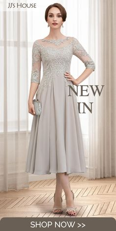 groom dress NEW INA-Line Tea-Length Chiffon Lace Mother of the Bride Dress With Beading Sequins Mother Of The Bride Dresses Long, Mother Of Bride Outfits, Mothers Dresses, Mother Bride, Mother Of The Bride Fashion, Mother Of The Bride Plus Size, Mob Dresses, Tea Length Dresses, Bridesmaid Dresses