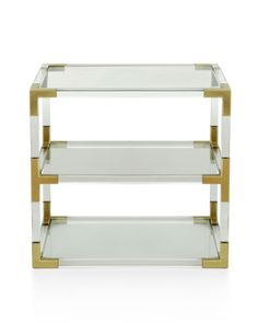 Lucite + Brass Two Tier Table