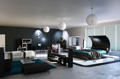 A king size luxurious bedroom with awesome use of colors.