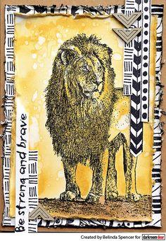 Card by Belinda Spencer using Darkroom Door Wild Africa Vol 2 Rubber Stamp Set and Tribal Background Stamp
