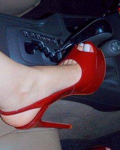 Delicious female feet Sexy Legs And Heels, Hot Heels, Red High Heels, High Heel Boots, Talons Sexy, Pantyhose Heels, Beautiful High Heels, Women's Feet, Girls Shoes