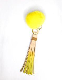 Yellow Pom-pom Keychain with Tassel  // Stylish flair for your keys // FUN Leather accessories handmade by StudiOH, Shoppe!