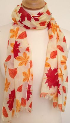 Leaf scarf - golden autumn leaves - fall colours - red - orange - yellow - leaf wrap - leaf shawl - womens autumn fall scarf in cotton Fall Scarves, Summer Scarves, Neck Scarves, Iranian Women Fashion, Indian Fashion, Cotton Dress Indian, Autumn Style, Autumn Fall, Autumn Leaves