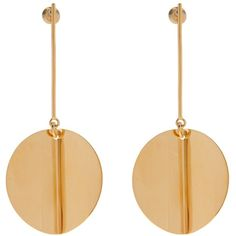 Stella McCartney Circular drop earrings (2.791.660 IDR) ❤ liked on Polyvore featuring jewelry, earrings, earring jewelry, asymmetrical earrings, circle earrings, gold tone earrings and gold colored earrings
