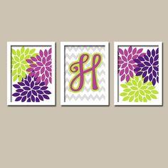 Lime Green and Purple Chevron | Purple Lime Green Monogram Flower Burst Letter Initial Set of 3 Trio ...